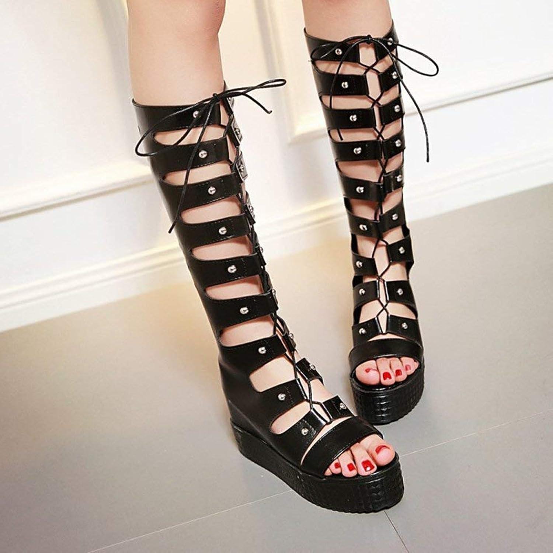 Gcanwea Women's Trendy Rivets Cut Out Lace Up Back Zipper Mid Calf Boots Heighten Inside Platform Gladiator Sandals Black 4 M US