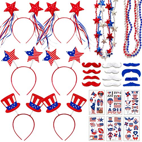 Adurself 72 Pieces Fourth/4th of July Party Accessories Patriotic Party Favor Supplies, Include 6 Head Boppers, 6 Bead Necklaces, 36 Temporary Tattoo, 12 Mustache for Independence Day Party Props Decoration