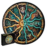 OSNIE 1000 Pieces Jigsaw Puzzles, Large Round Twelve Constellations Puzzle Sun and Moon Wall Decoration, Challenge Educational Zodiac Puzzle Decompressing Learning Gifts for Astronomy Enthusiasts