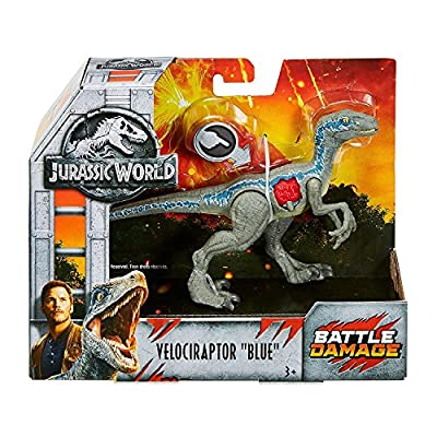 "JWFK Jurassic World Fallen Kingdom Velociraptor Blue Dinosaur Posable Figure 6"" Battle Damaged from Jurassic World"