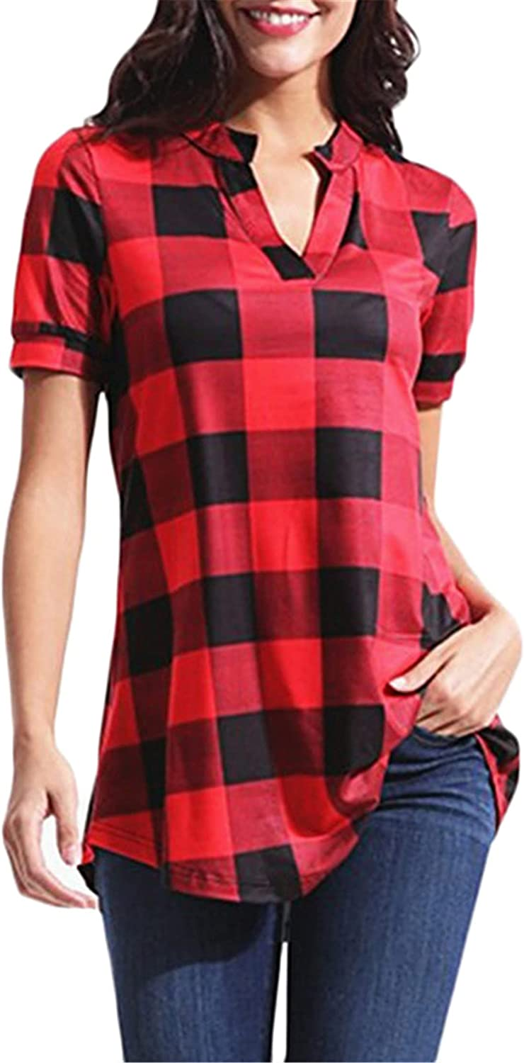 Andongnywell Sale special price Women Short Sleeve Casual V-Neck Shirt Loose Plaid Bargain sale