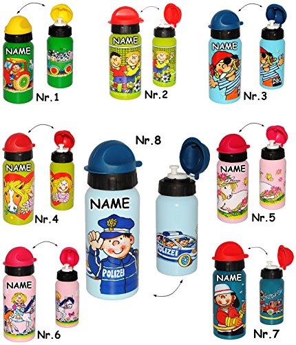 Belldessa Alu Sportflasche / Trinkflasche - auslaufsicher -  Mädchen mit Pferd & Schimmel  - incl. Name - aus Aluminium 420 ml - 0,4 Liter / 400 ml - für Kinder Alufl..