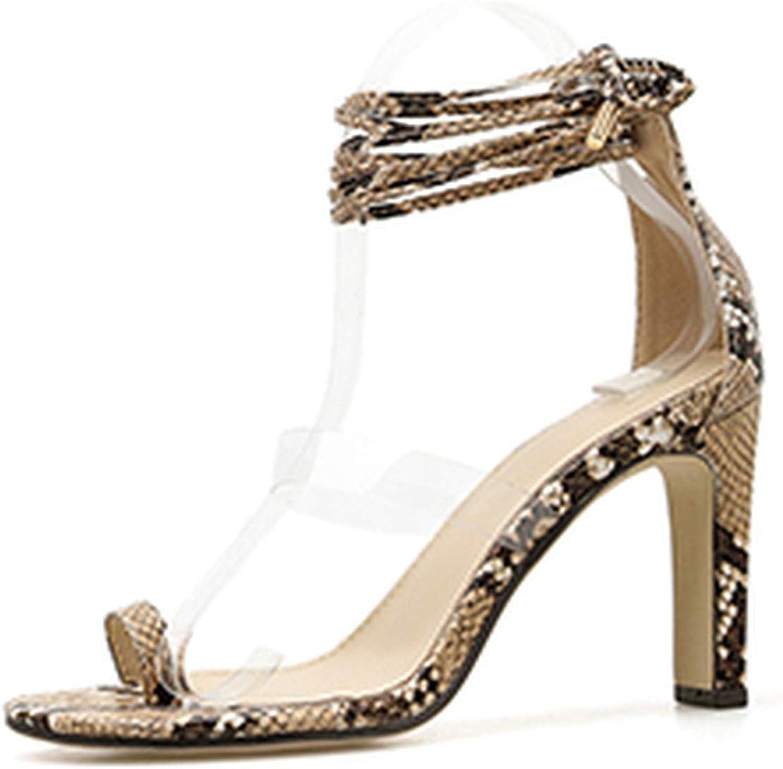 HuangKang Serpentine Women Fashion Peep Toe Lace Up Gladiator Square Heel shoes Sexy Thin Heel Summer shoes