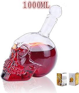 ラージスカル頭ウォッカ ショット ウイスキー ワイン グラス ボトル デカンタ スカル型ワイン ボトル-d 1l