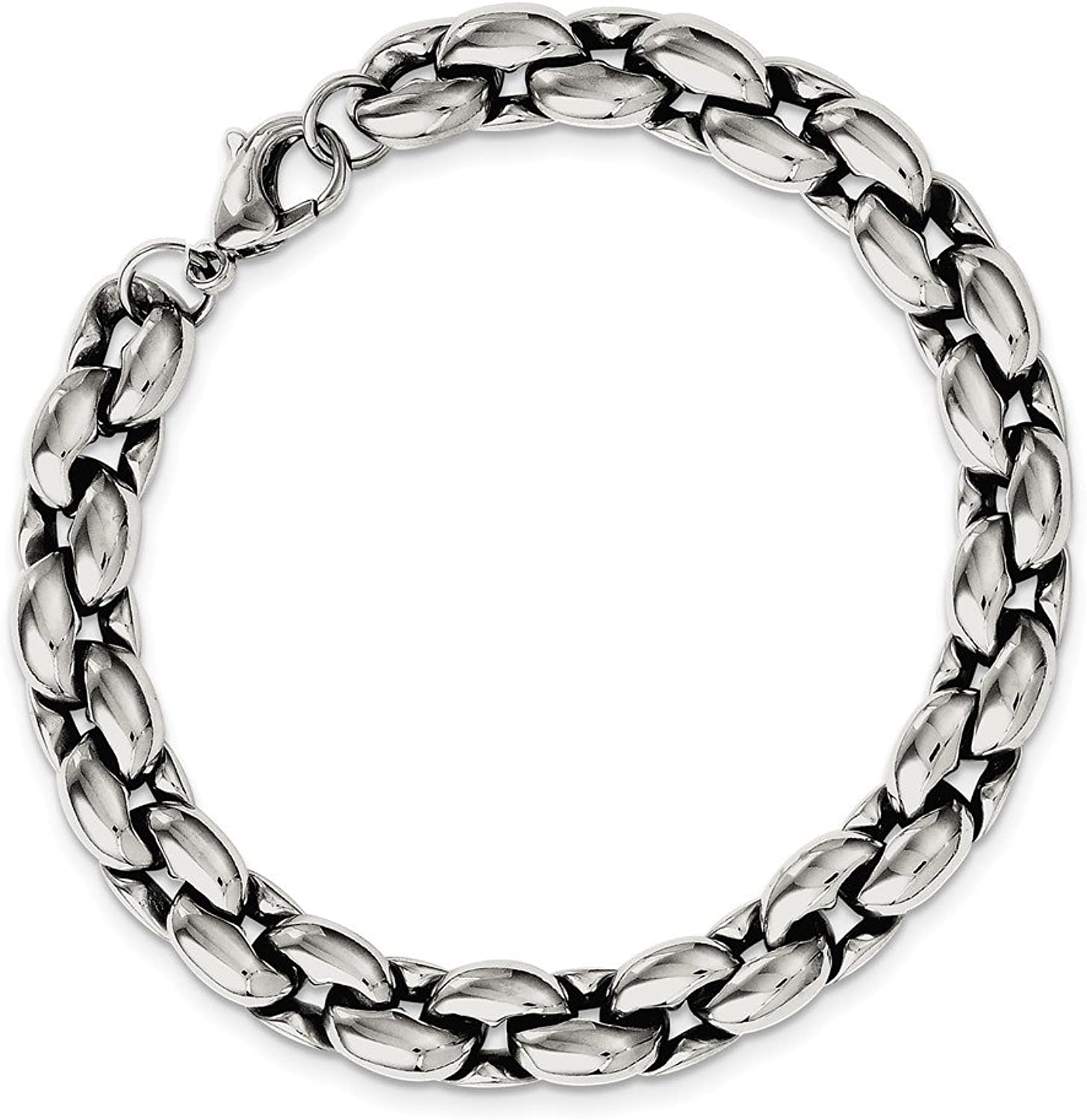 Beautiful Stainless Steel Polished Ovals 8.25in Bracelet
