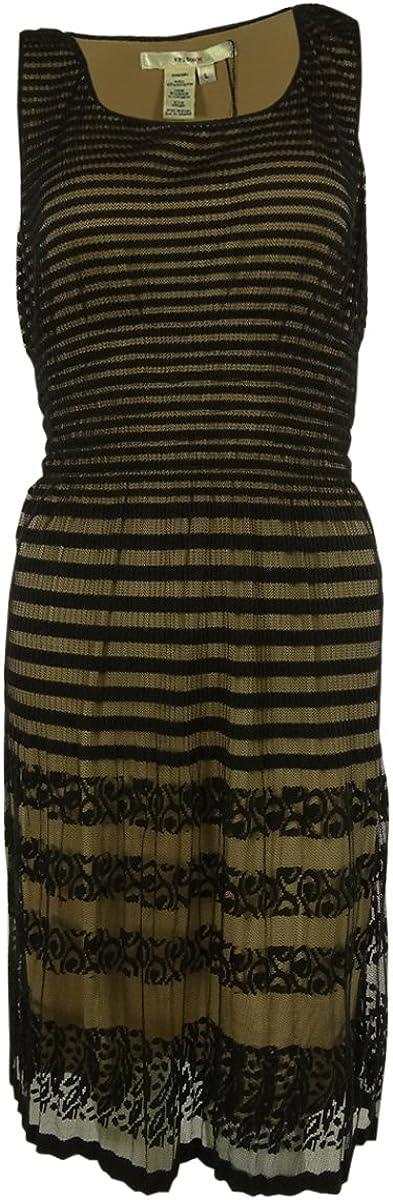 Studio M Women's Striped Mesh Lace Dress (XS, Black/Nude)