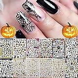 Kalolary 12 Fogli Adesivi per Nail Art Di Halloween Decalcomanie, Decalcomanie Autoadesive per Unghie Fai-da-te Consigli per Unghie per La Festa di Halloween, Include Zucca/Pipistrello/Fantasma