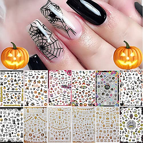 1500+ Patterns Halloween Nail Art Stickers Decals, Kalolary Self-Adhesive DIY Nail Sticker Decals 3D Design Nail Decorations for Halloween Party Include Pumpkin/Bat/Ghost/Witch(12 Sheets)