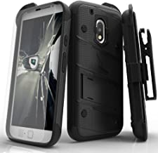 ZIZO Bolt Series Motorola Moto G4 Plus Case Military Grade Drop Tested with Tempered Glass Screen Protector Holster Black