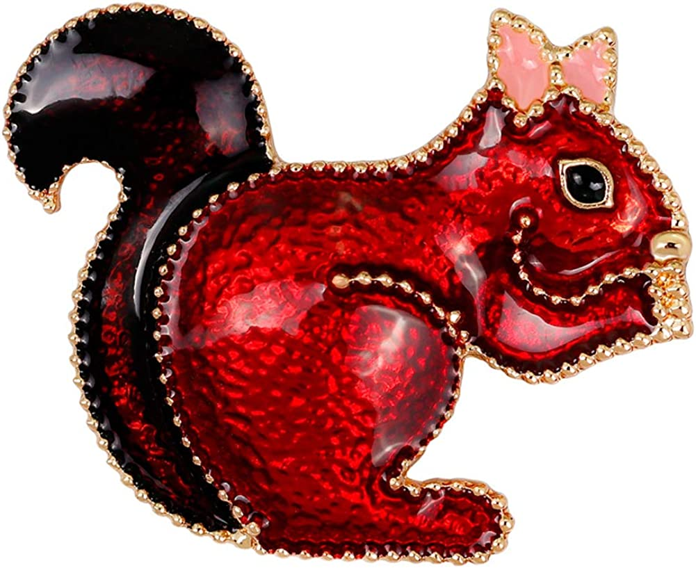 YAZILIND Lovely Squirrel Brooch Pins Women Breastpin Corsage Girls Jewelry Gift