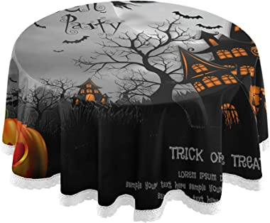 """Nander Halloween with Pumpkin Haunted House and Full Moon Tablecloth - 60"""" Inch Round Tablecloths for Circular Table Cover in"""
