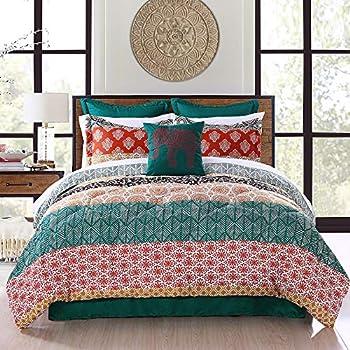Lush Décor Lush Decor Bohemian Stripe Comforter-Colorful Pattern Boho Style Reversible 7 Piece Bedding Set-Full Queen-Turquoise and Orange Turquoise & Orange