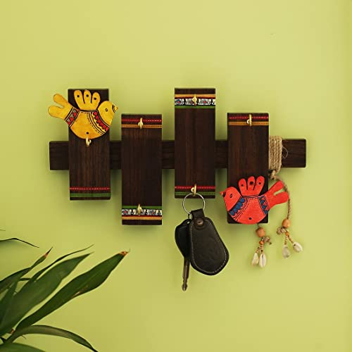 ExclusiveLane 'Birds On Planks' Warli Hand-Painted Home Decorative Key Hanger Stand Wall Hanging Wooden Key Holder (6 Hooks)