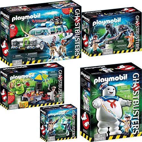 PLAYMOBIL® Ghostbusters™ set en 5 parties 9220 9221 9222 9223 9224 Ecto-1 + Stay Puft l\'homme marshmallow + Slimer avec stand de Hot-Dog + Venkman et Terror Dogs + Spengler et spectres