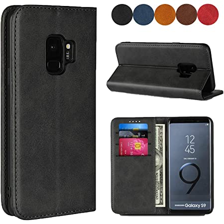 """Samsung Galaxy S9 Wallet Case, SailorTech Premium PU Leather Protective Folio Flip Cover with Stand Feature and Built-in Magnet 3-Slots ID&Credit Cards Pockets for Galaxy s9 case(5.8"""")-Dark Grey"""
