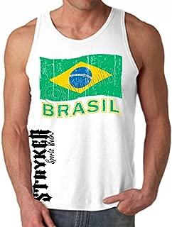 Stryker Fight Gear Brazil Muay Thai Fighting White Tank Top MMA Brazilian Jiu Jitsu Boxing Karate Judo Brasil Flag Size Medium