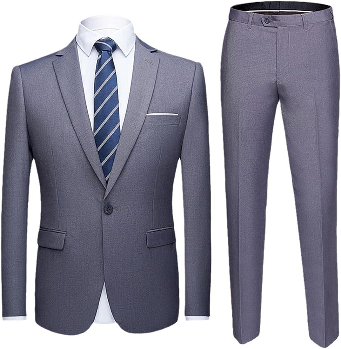 2 Sets of Men's Wedding Suit Men's Slim Business Office Plus Size Suit Jacket + Pants Men's Suit Suit