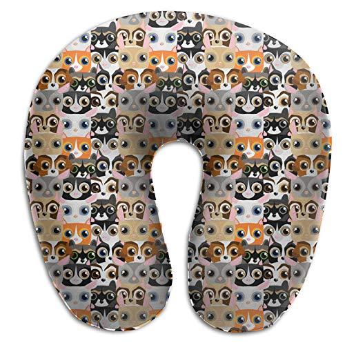 Almohada de espuma viscoelástica para el cuello, pequeñas mascotas lindas y divertidas, almohada de viaje ligera para oficina y escuela