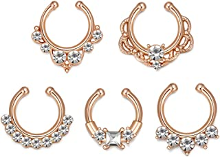 Chatoyant Premium Fake Nose Rings Face Nose Ring Hoop Fake Septum Piercing Faux Septum Ring Non Piercing Clip on Nose Ring Body Jewelry