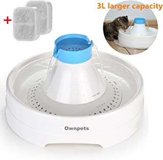OWNPETS Pet Drinking Fountain,3L or 0.8 Gallon Quiet Automatic Eletrinic Water Fountain for Cat and Dog