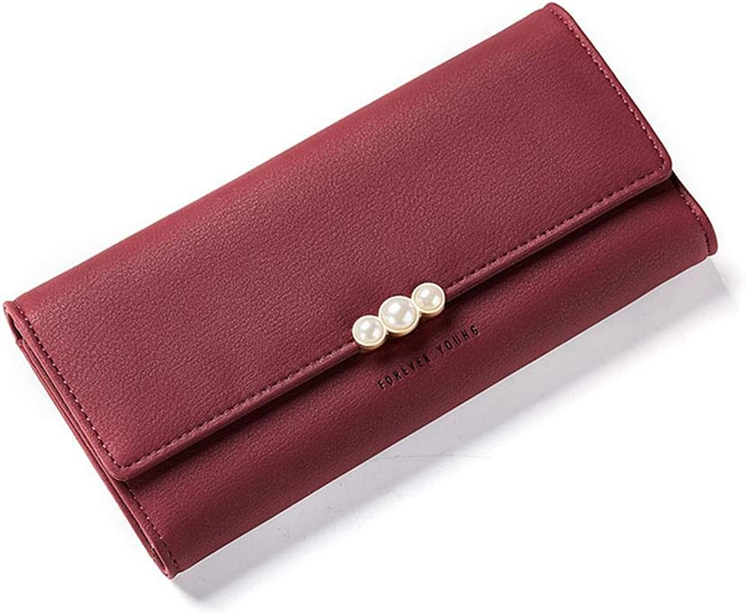 WeoHau Fashion Pearl Element Ladies Pu Wallet Simple MultiFunction Clutch Bag Purse,Wine Red