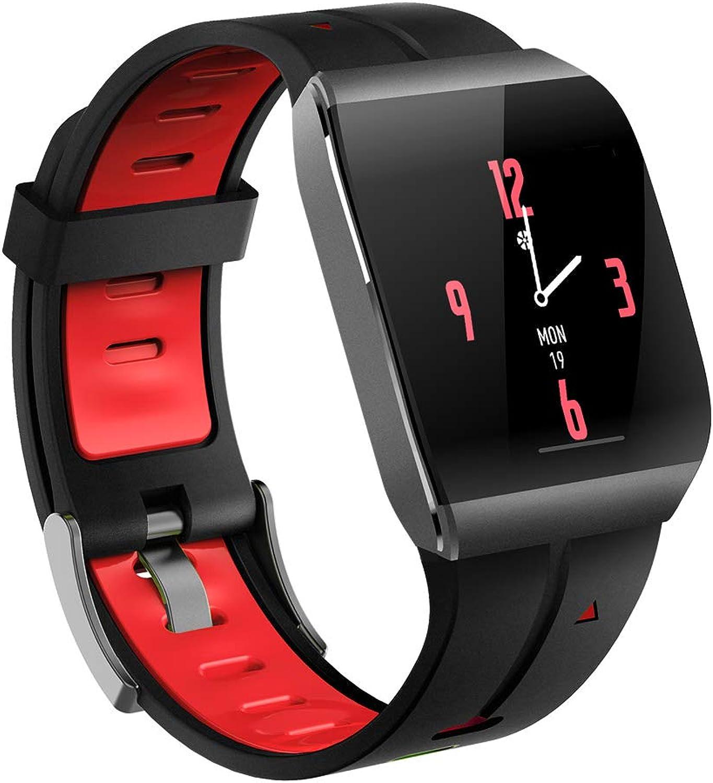 WANGCHAO Fitness Tracker, Herzfrequenz-Schlafüberwachung IP68 Wasserdicht Kalorien Mehrfachsportmodus Standby 60 Tage Fitness Tracker Smart Sports Watch,rot