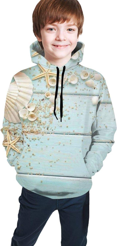 Seashells Nautical On Turquoise Wooden Hoodies for Kids Boys Girls Hooded Sweatshirt Pullover Long Sleeve Sweaters