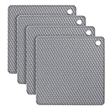 flintronic Silicone Table Mat, 4PCS Silicone Trivet Non-Slip, 18.5CM Honeycomb Kitchen Table Pad Multi-Purpose Hot Pads, Spoon Rest, Cooking & Dining (Square-Grey)