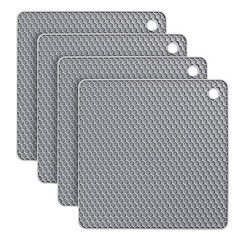 flintronic Sottopentola Silicone Set di 4, Presine in Silicone da Cucina Forma di Alveare, Resistente al Calore Fino a 250 °C, Lavabile in Lavastoviglie, Multifunzione - Grigio