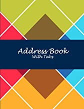 """Address Book with Tabs: Art Triangle, 8.5"""" X 11"""" Address Book with Birthdays and Anniversaries, Address Book for Phone Numbers, Email Contact, Birthdays & Alphabetical Organizer Journal Notebook"""