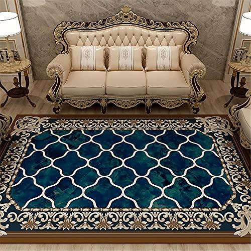 Adornos Salon Alfombra de Sala de Estar con Borde Floral de Estilo Europeo de Tinta marrón Azul alfombras Antideslizante alfombras recibidor 140*200cm