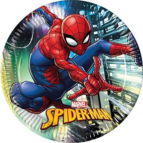 Procos 89445 - Teller Spiderman Team Up, 8 Stück, Durchmesser 23 cm, Einwegteller, Kindergeburtstag, Partygeschirr
