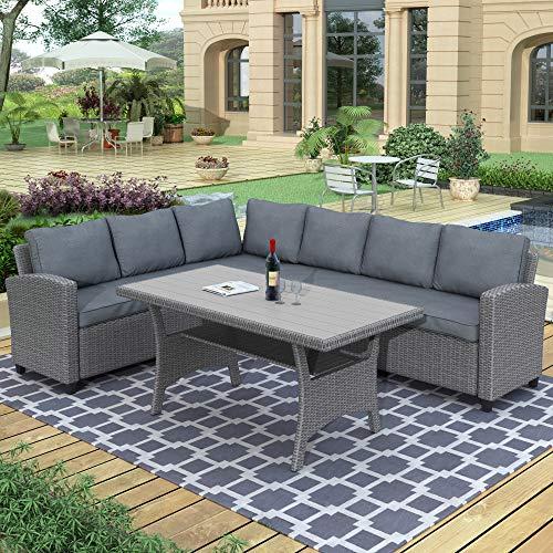 Merax Outdoor Patio Furniture Set, Rattan Wicker Patio Sectional Sofa, Garden Poolside Backyard Conversation Set with Cushions, Grey
