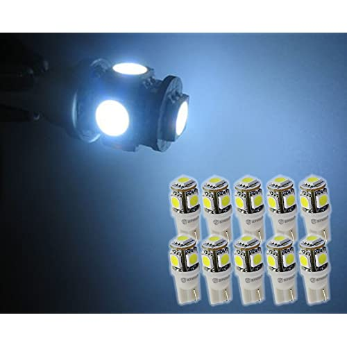 Zone Tech 10x T10 194 168 2825 5-smd White High Power SUPER BRIGHT LED