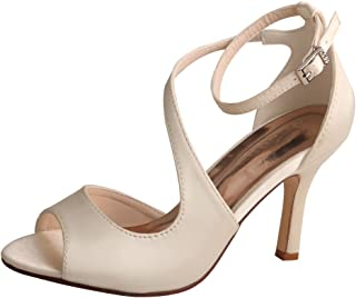 Wedopus MW7050 Women's Peep Toe High Heels Wedding Sandals Buckles Satin Evening Party Prom Sandals