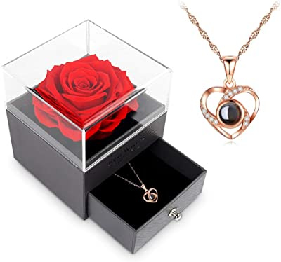 Gift for Mom Necklace for Mom Lana Del Rey Necklace Mother/'s Day Gift Minimalist Gold Plated Red Rose Necklace Locket Necklace