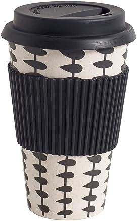 Preisvergleich für NORDAL Kaffeebecher Coffee to Go Bambus schwarz - weiß