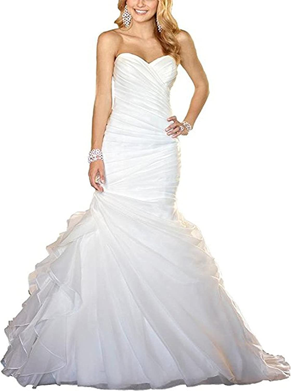 BridalAffair Women's Sweetheart Neck Off The Shoulder Mermaid Wedding Dresses Organza Bridal Gowns