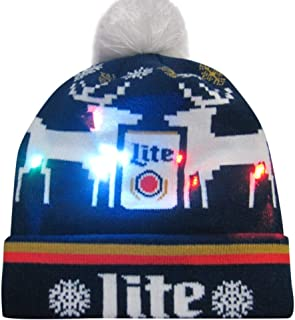 WUAI Christmas Hat for Adults, Novelties LED Light-up Colorful Knit Hat Beanie Ugly Holiday Beanie Hats