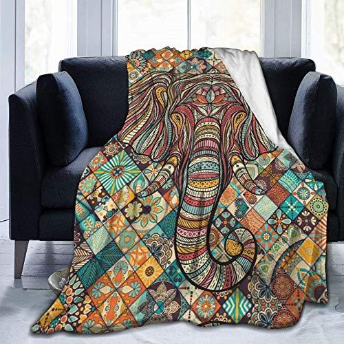 Manta de forro polar con diseño bohemio de cachemira, bohemio, mandala, elefante, loto, hamsa, rosa y morado, para cama de bebé, decoración de dormitorio