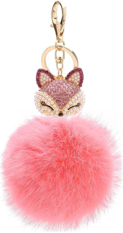 Hilary Ella Cute Fox Pom Pom Fur Ball Rhinestone Keychain Bag Car Ring Keyring