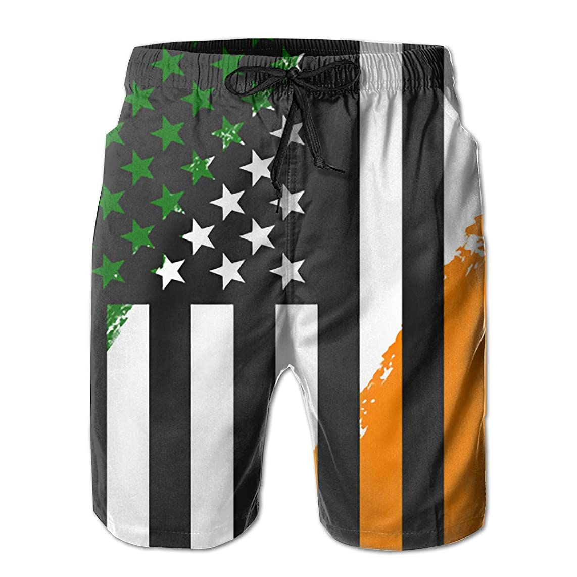 Fly Teenager Men's Beach Board Shorts Ireland US Flag St Patricks Day Quick Dry with Mesh Liner 3 Pockets