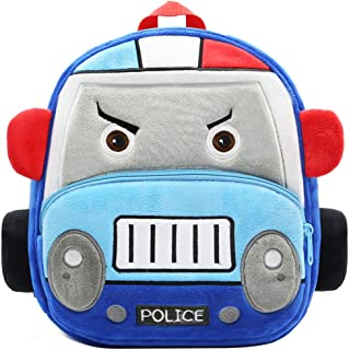 "Toddler Backpack for Boys Girls, 12"" Car Preschool Bag Plush Cartoon Bookbag for Little Boys Girls Kids"