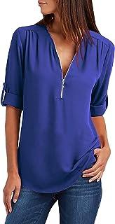 Tuopuda Camicette di Magliette da Donna Camicia di Chiffon Allentata T-Shirt con Scollo a V Traspirante Maglietta Manica L...
