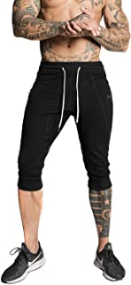 MAIKANONG Mens 3/4 Joggers Slim Fit Shorts Tapered Sweatpants for Gym Running Athletic