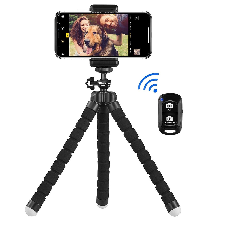 評価彼自身苦しみUBeesize スマホ用自撮りミニ三脚 Bluetoothリモコンとスマホホルダー付き デジカメ/スポーツカメラGoProカメラと交換性がある iPhone/Android携帯に適用