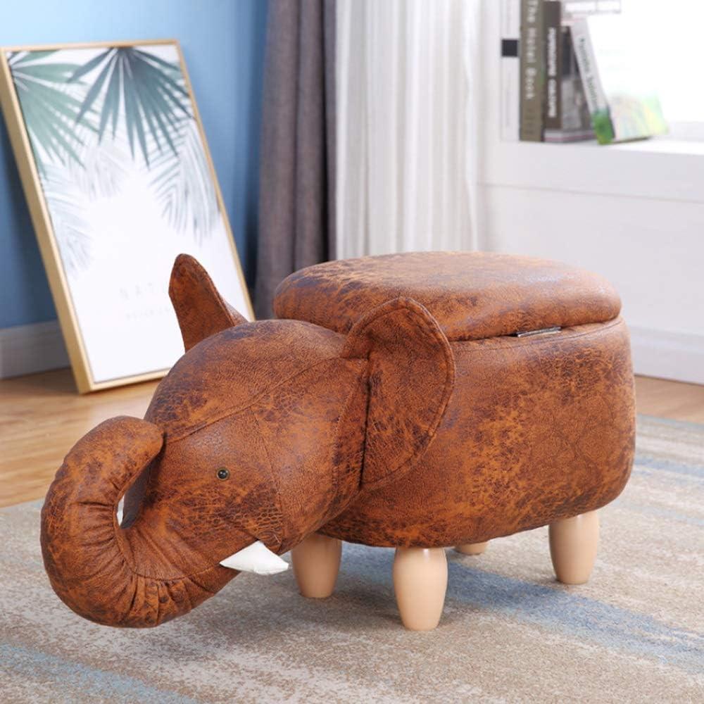 Changement de banc à chaussures Animal Forme Coffre Repose-pieds Coussin Rembourré Repose-pieds Tabouret Siège Canapé Chaise 4 Pieds En Bois (Éléphant) (Color : Gray) Beige