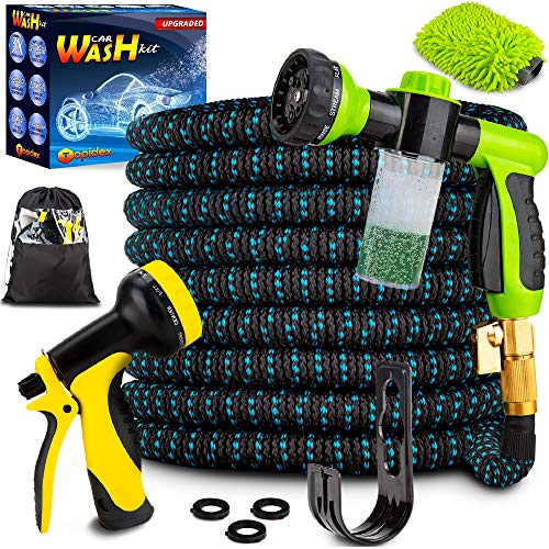 Topidex Car Wash Kit, Expandable Garden Hose 50 FT - with High Pressure Spray Nozzle – Durable...