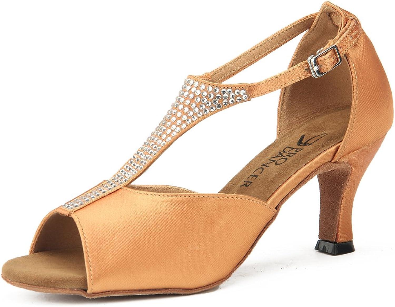 Pro Dancer Women Ballroom Dancing shoes Salsa Sandals Latin Dance Heels Brown