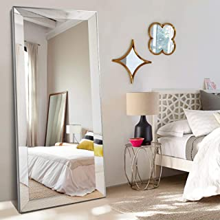 NeuType Beveled Framed Full Length Mirror Leaner Mirror Wall Mirror, Hanging or Leaning Against Wall